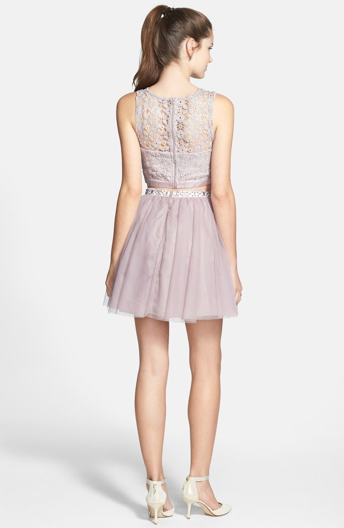 Alternate Image 2  - Sequin Hearts Two-Piece Dress (Juniors)