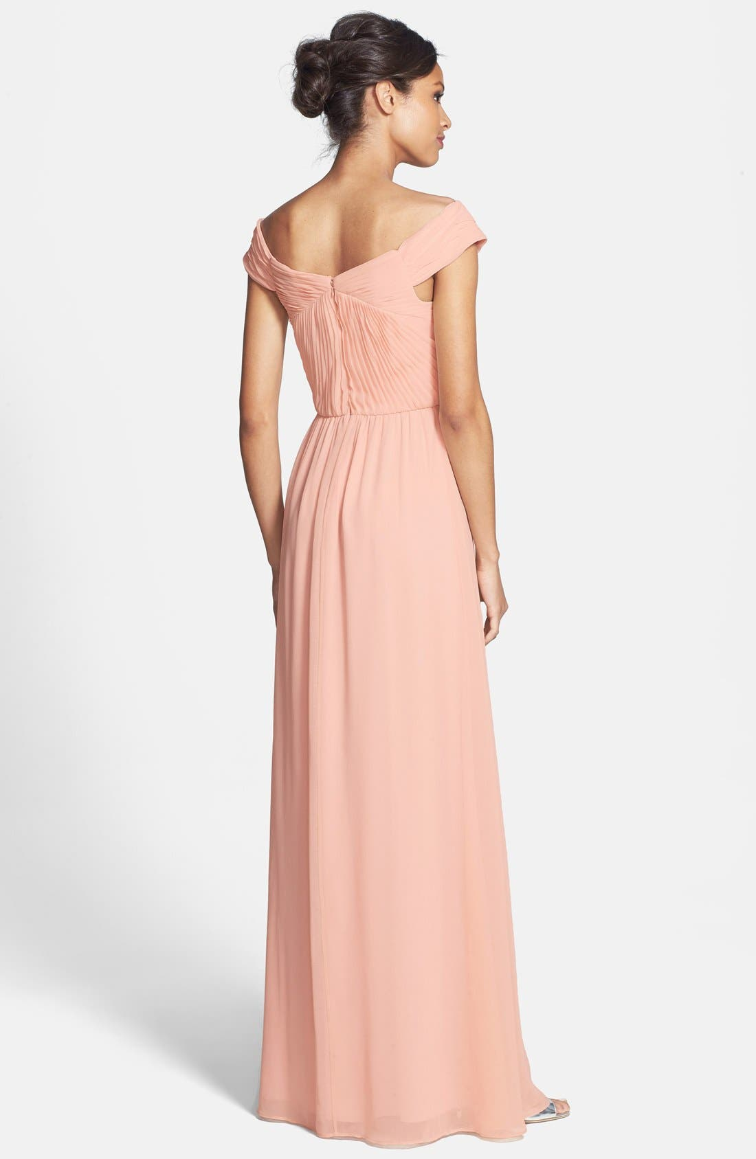 Alternate Image 2  - ERIN erin fetherston 'Clarisse' Off the Shoulder Front Twist Chiffon Gown