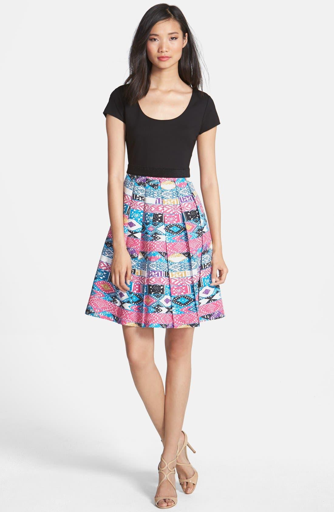 Main Image - Plenty by Tracy Reese 'Zoe' Print Skirt Fit & Flare Dress (Petite)