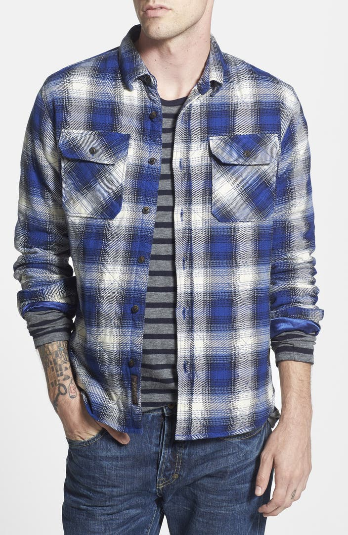Scotch soda quilted extra trim fit check flannel shirt for Trim fit flannel shirts