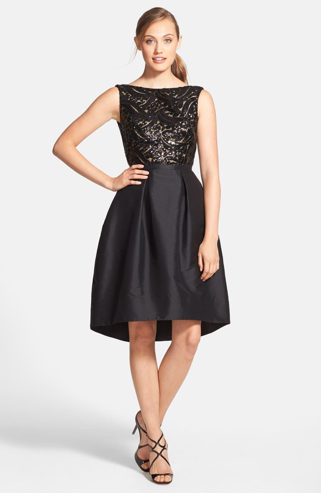 Alternate Image 3  - ML Monique Lhuillier Sequin Bodice Faille Fit & Flare Dress