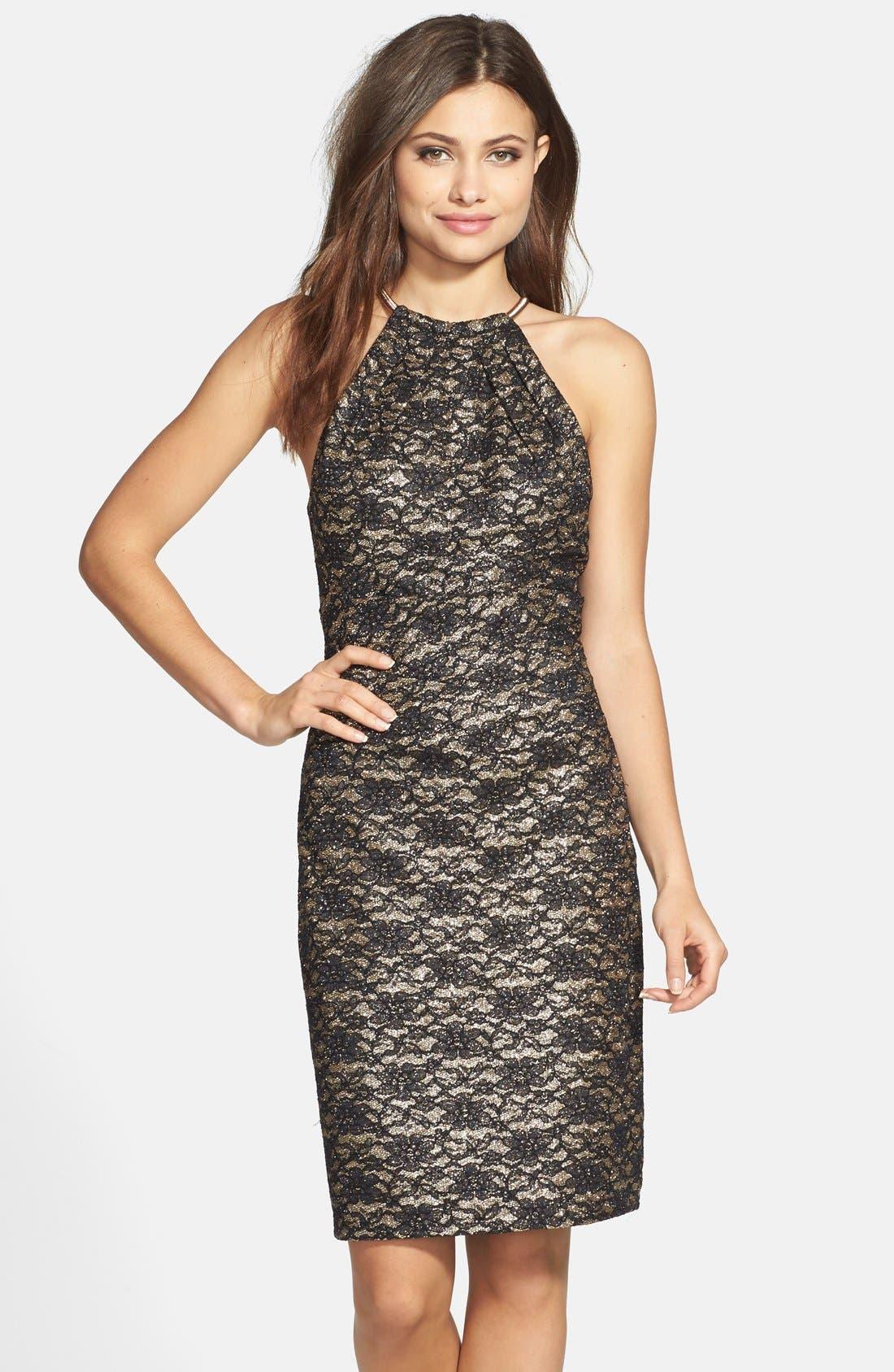 Alternate Image 1 Selected - Eliza J Lace Halter Sheath Dress
