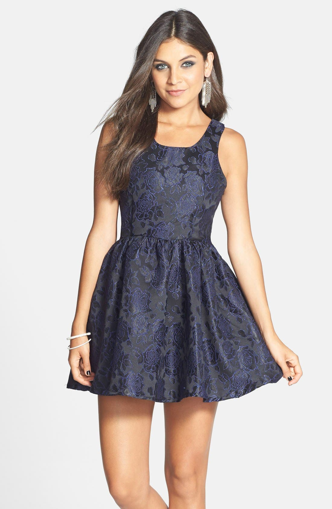 Fitted Dress For Juniors Smai NYC Embossed Rose...