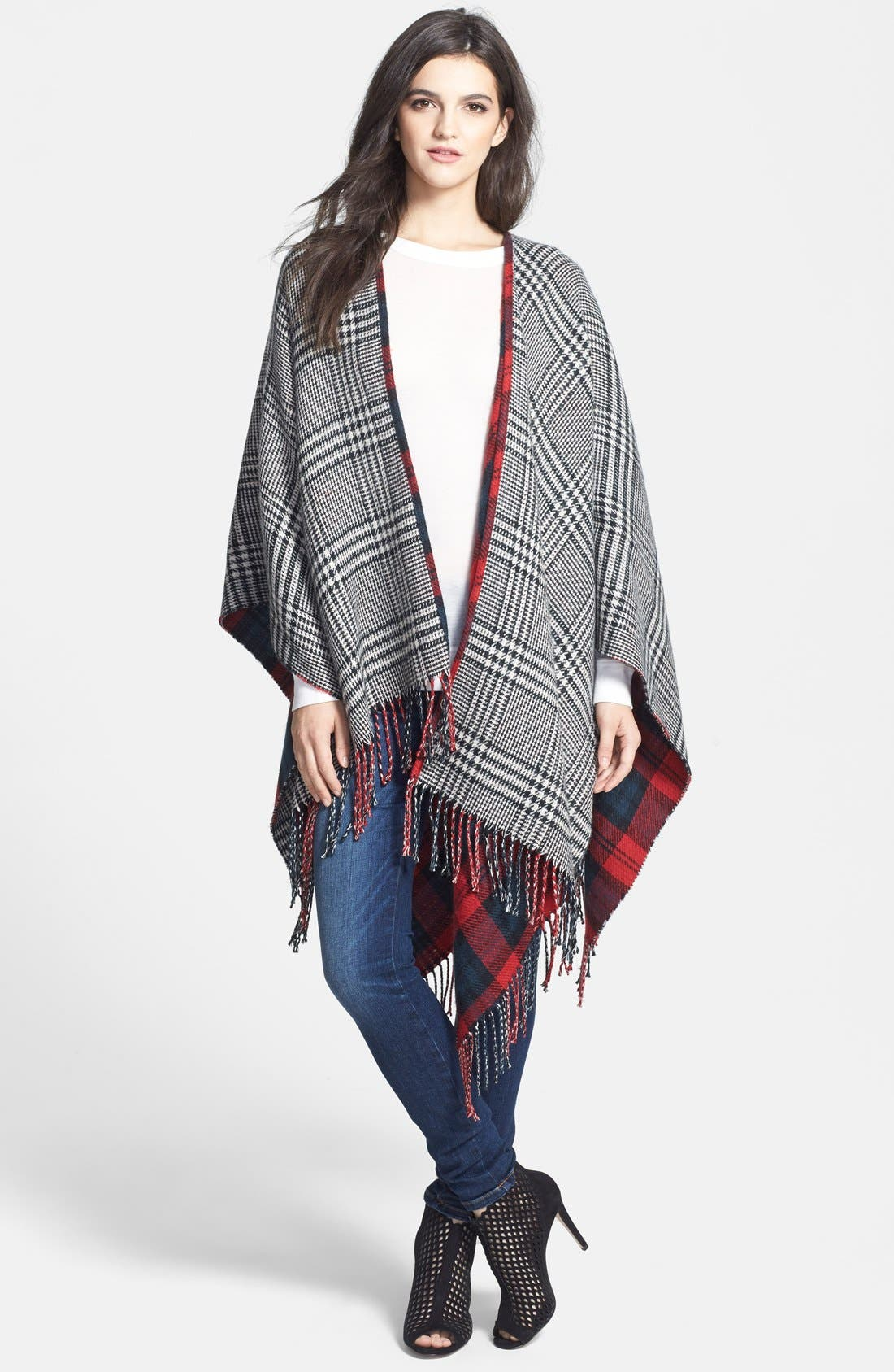 Alternate Image 4  - Accessory Street 'Double Plaid' Reversible Ruana
