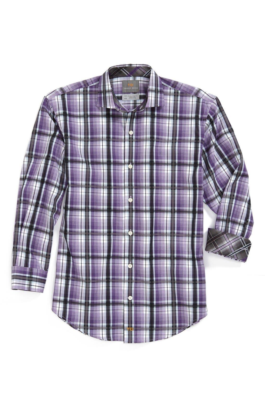 Main Image - Thomas Dean Plaid Cotton Poplin Dress Shirt (Big Boys)