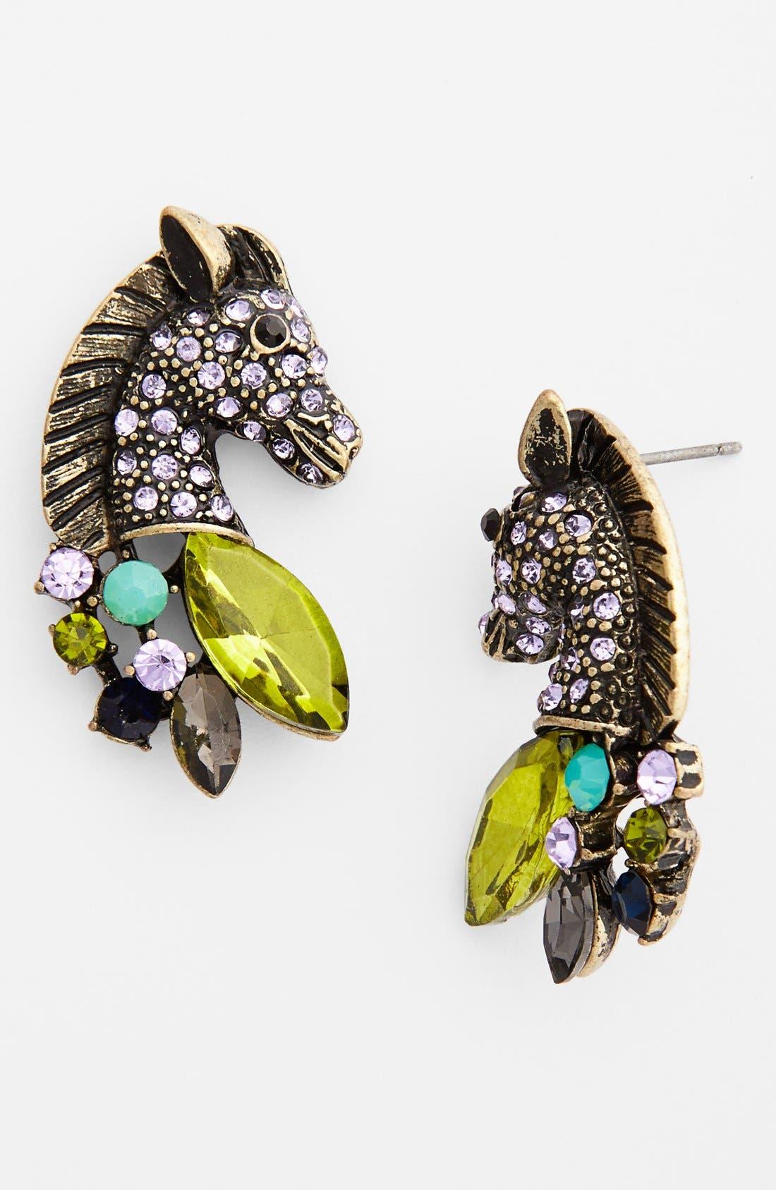 Main Image - Topshop Rhinestone Horse Stud Earrings