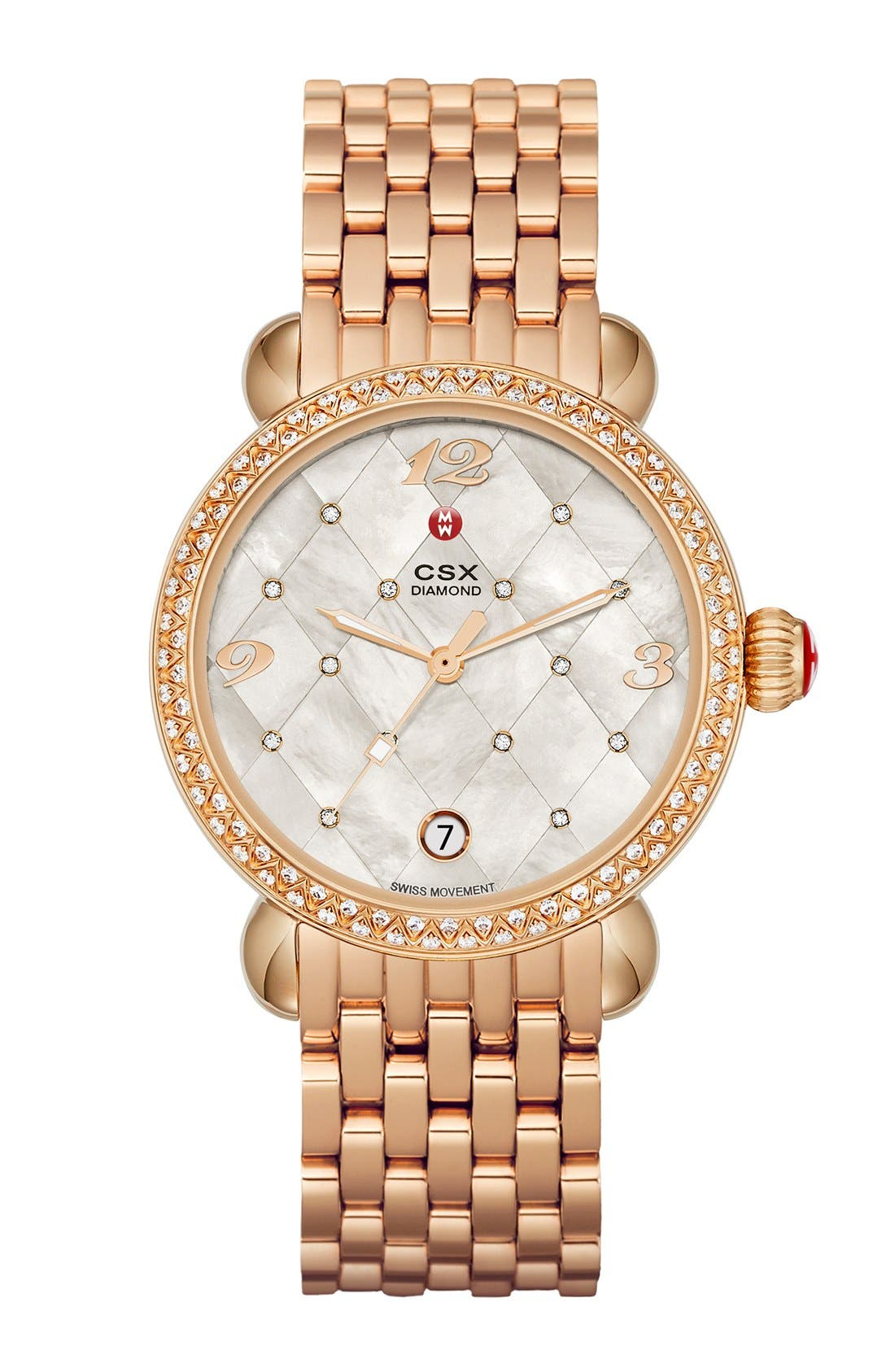Alternate Image 2  - MICHELE 'CSX Quilted' Diamond Dial Watch Case, 36mm (Limited Edition)
