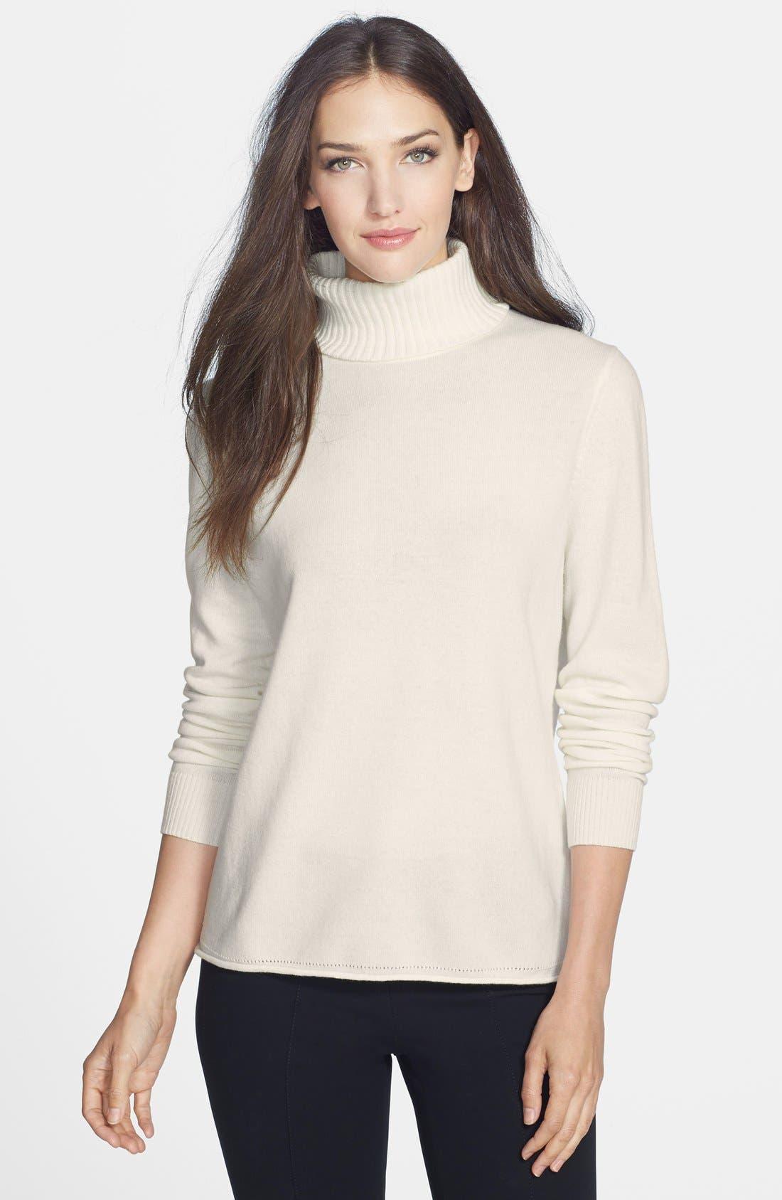 Main Image - Lafayette 148 New York Cashmere Turtleneck Sweater
