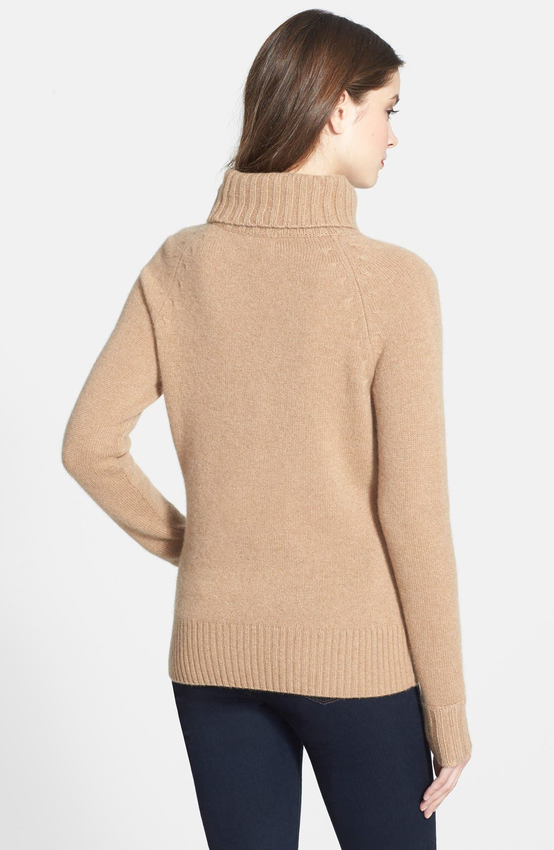 Alternate Image 2  - Halogen® Turtleneck Cashmere Sweater (Regular & Petite)