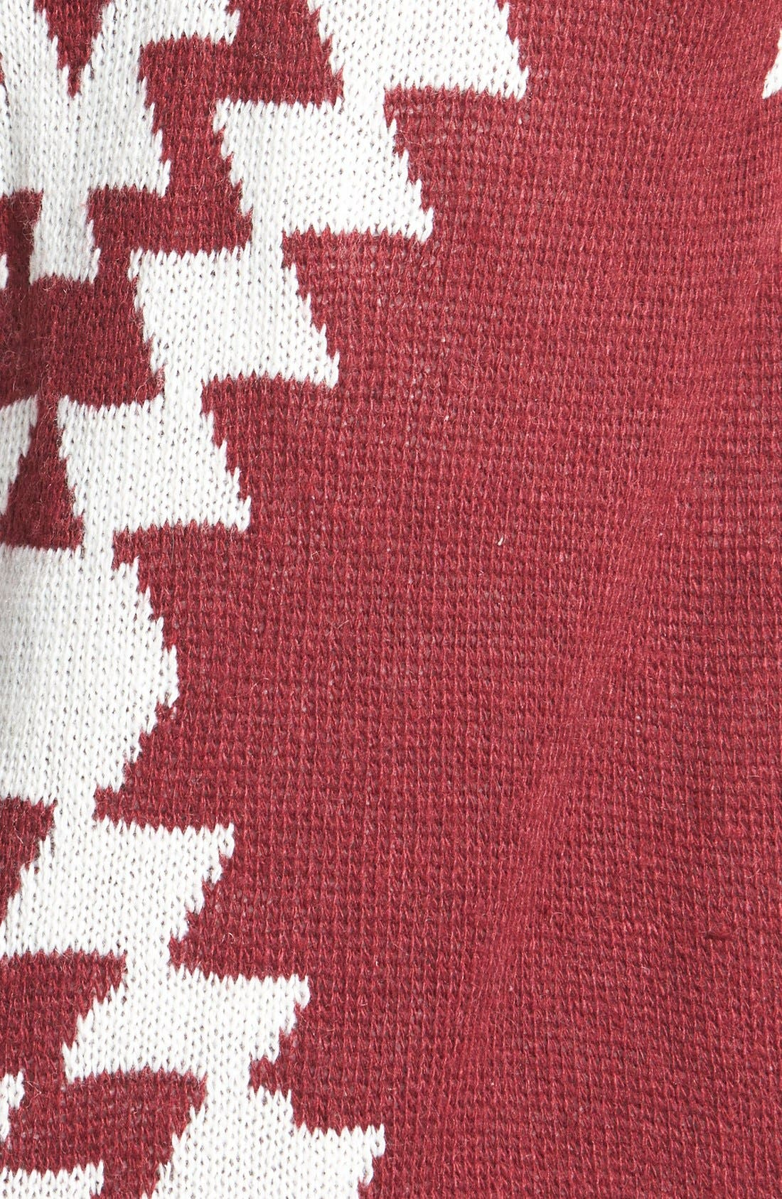 Alternate Image 3  - Woven Heart Geo Pattern Hooded Cardigan (Juniors)