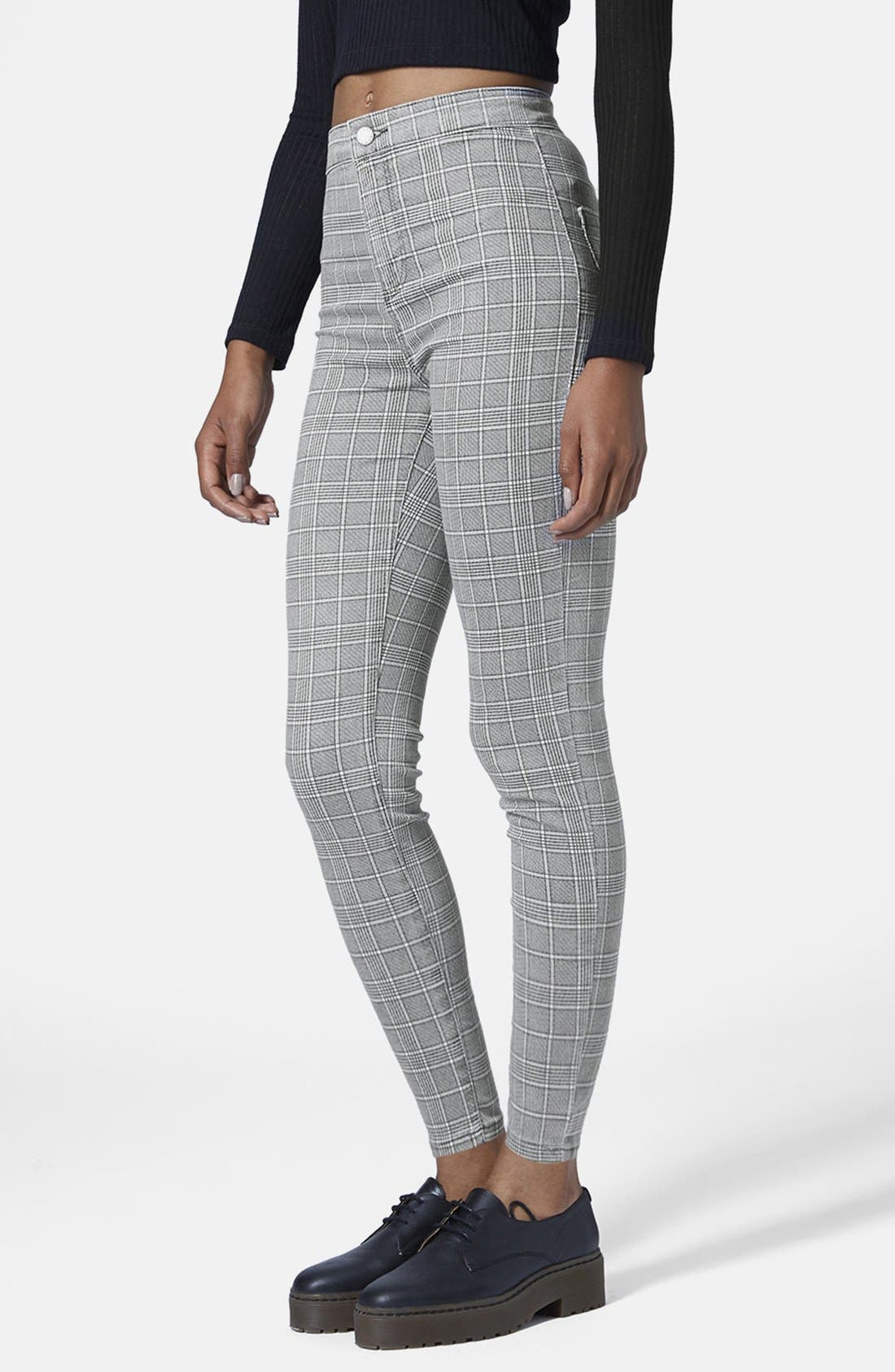 Alternate Image 1 Selected - Topshop Moto 'Joni' Prince of Wales Plaid High Rise Skinny Jeans (Regular & Short)