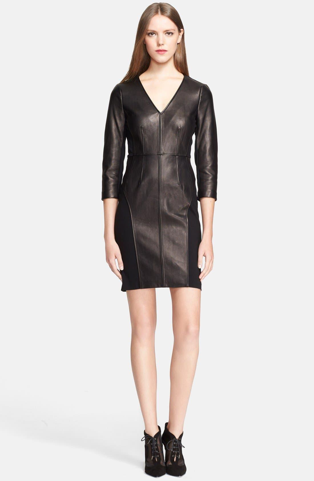 Alternate Image 1 Selected - Diane von Furstenberg Leather Shift Dress
