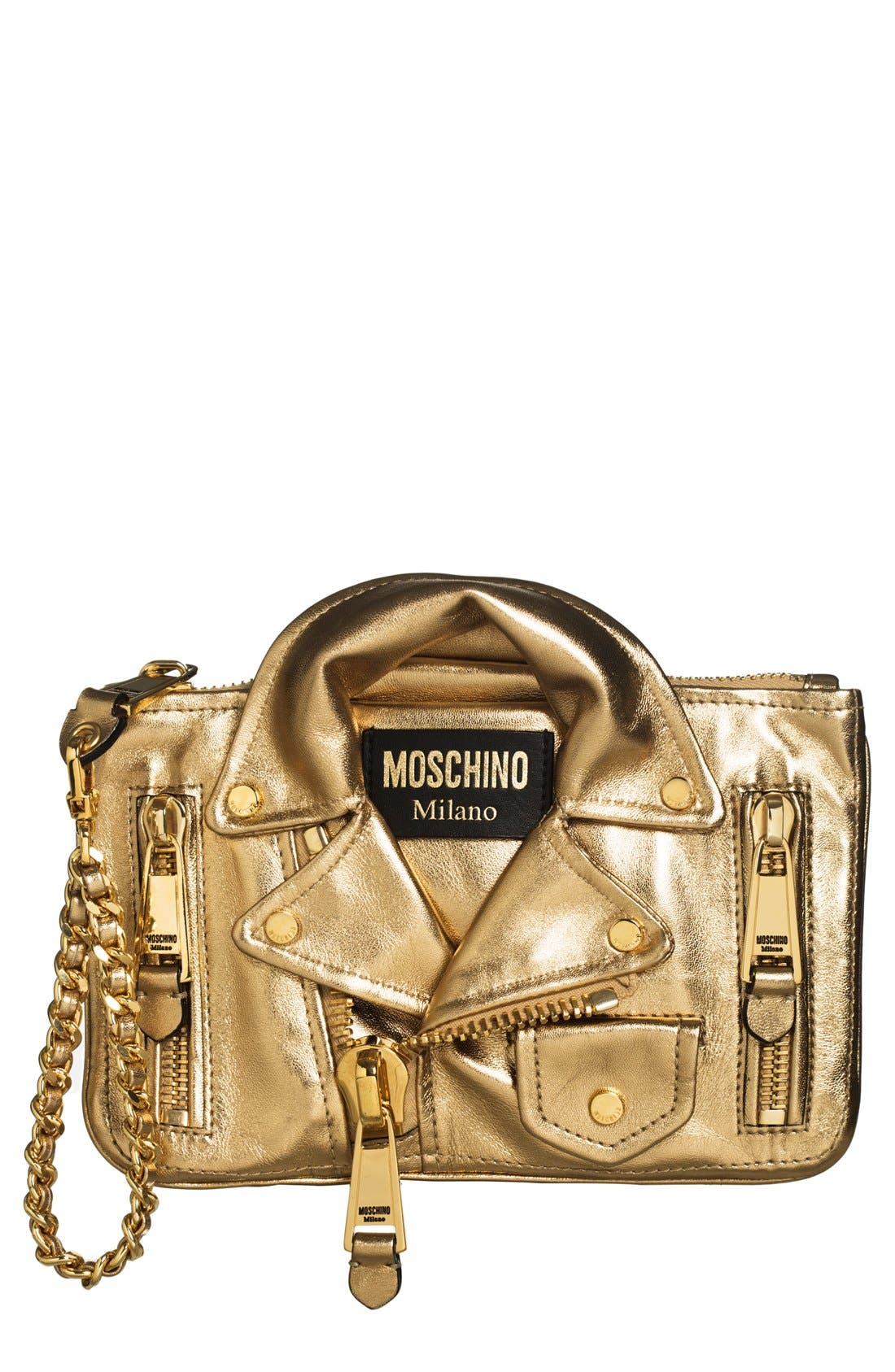 Main Image - Moschino 'Leather Jacket' Wristlet