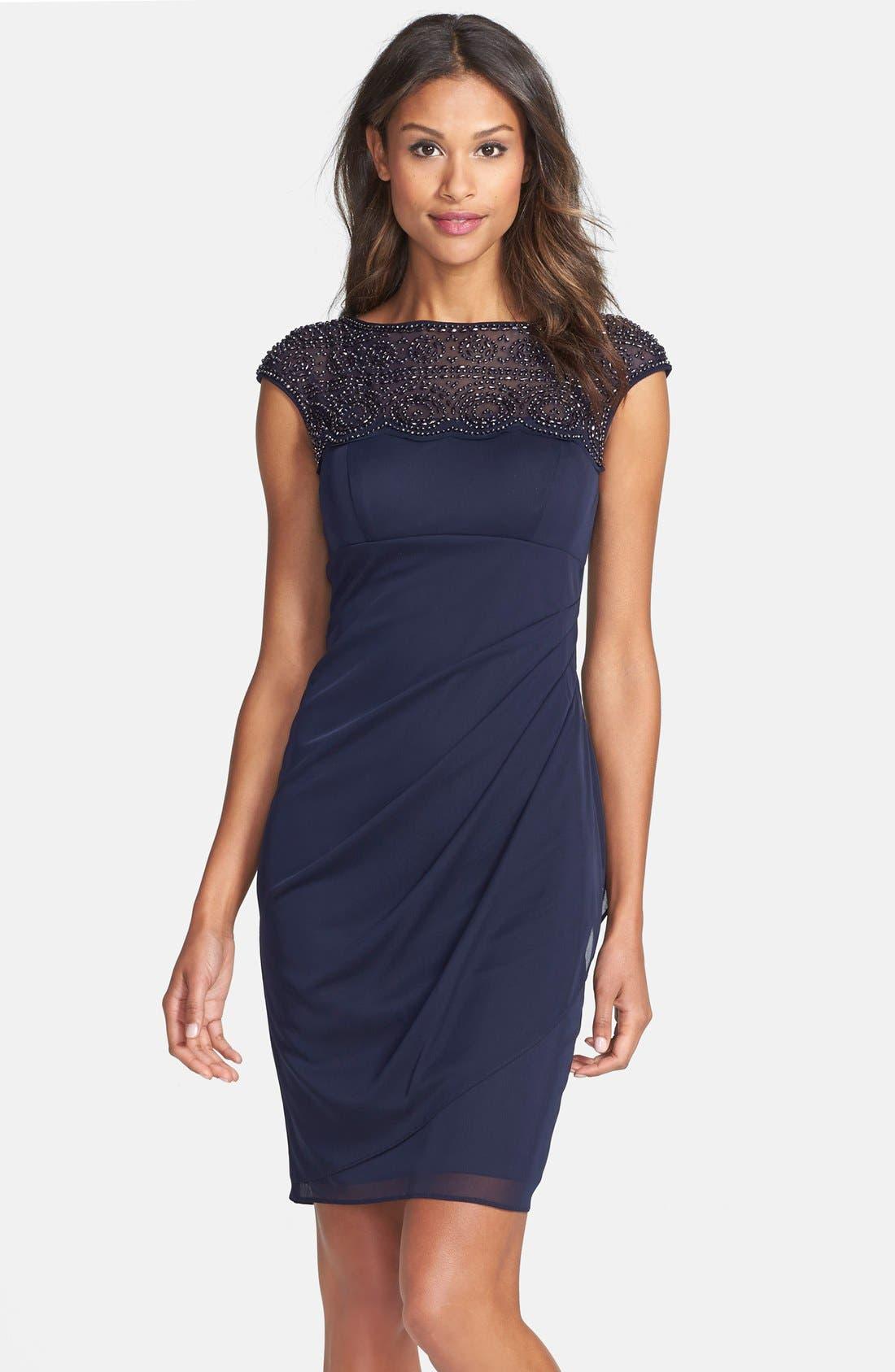 Main Image - Xscape Beaded Jersey Sheath Dress