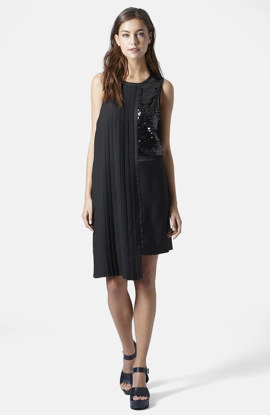 Alternate Image 5  - Topshop Sequin and Pleat Panel Shift Dress