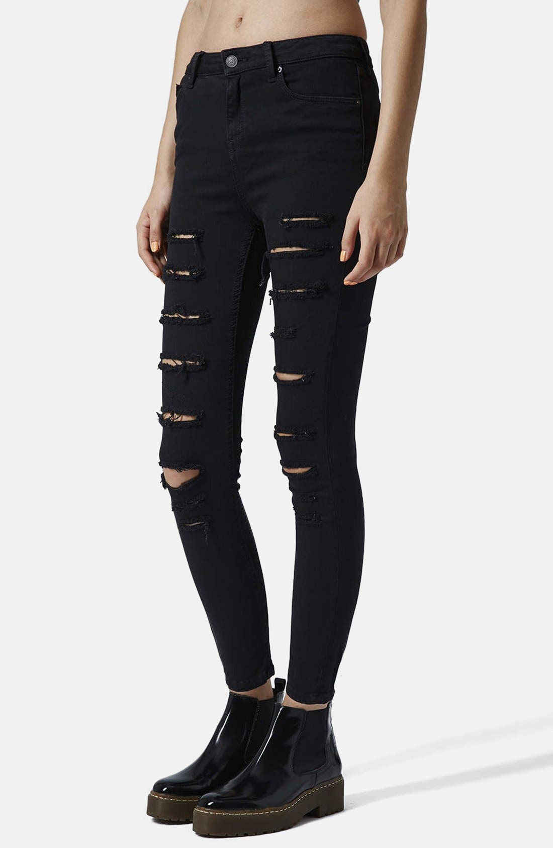 Main Image - Topshop 'Jamie' Ripped High Rise Skinny Jeans (Black)