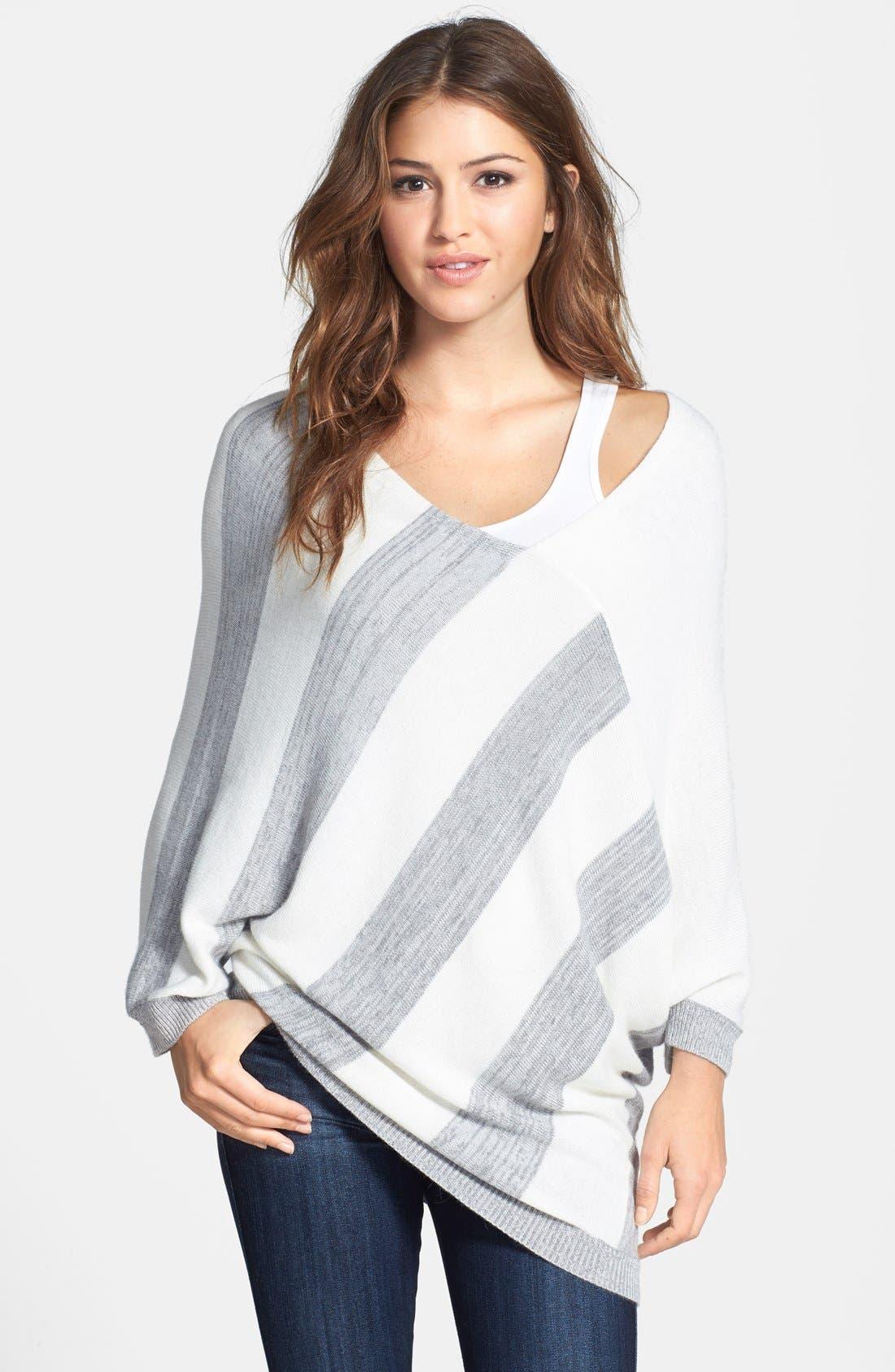 Alternate Image 1 Selected - DKNYC Stripe Asymmetrical V-Neck Pullover