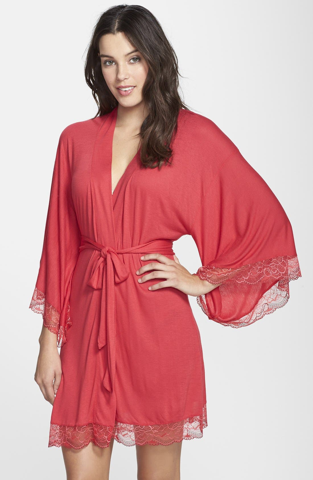 Alternate Image 1 Selected - Eberjey 'Cassandra' Lace Trim Kimono Robe
