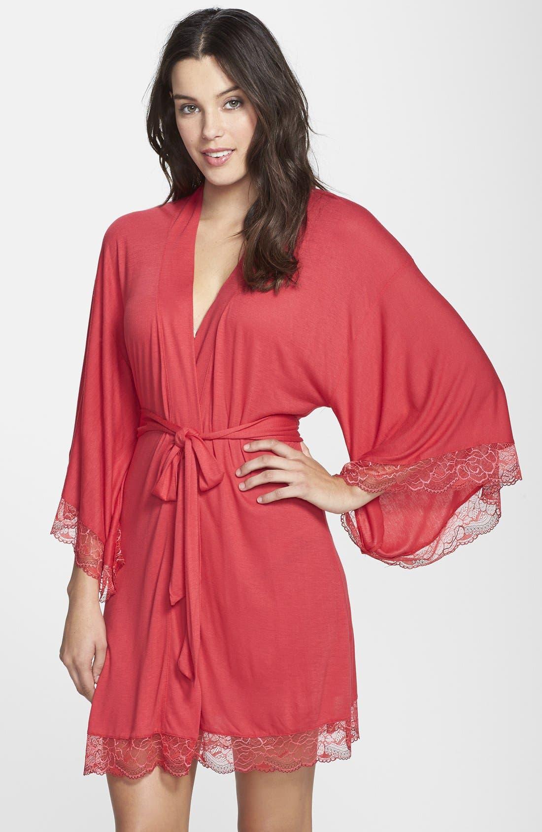 Main Image - Eberjey 'Cassandra' Lace Trim Kimono Robe