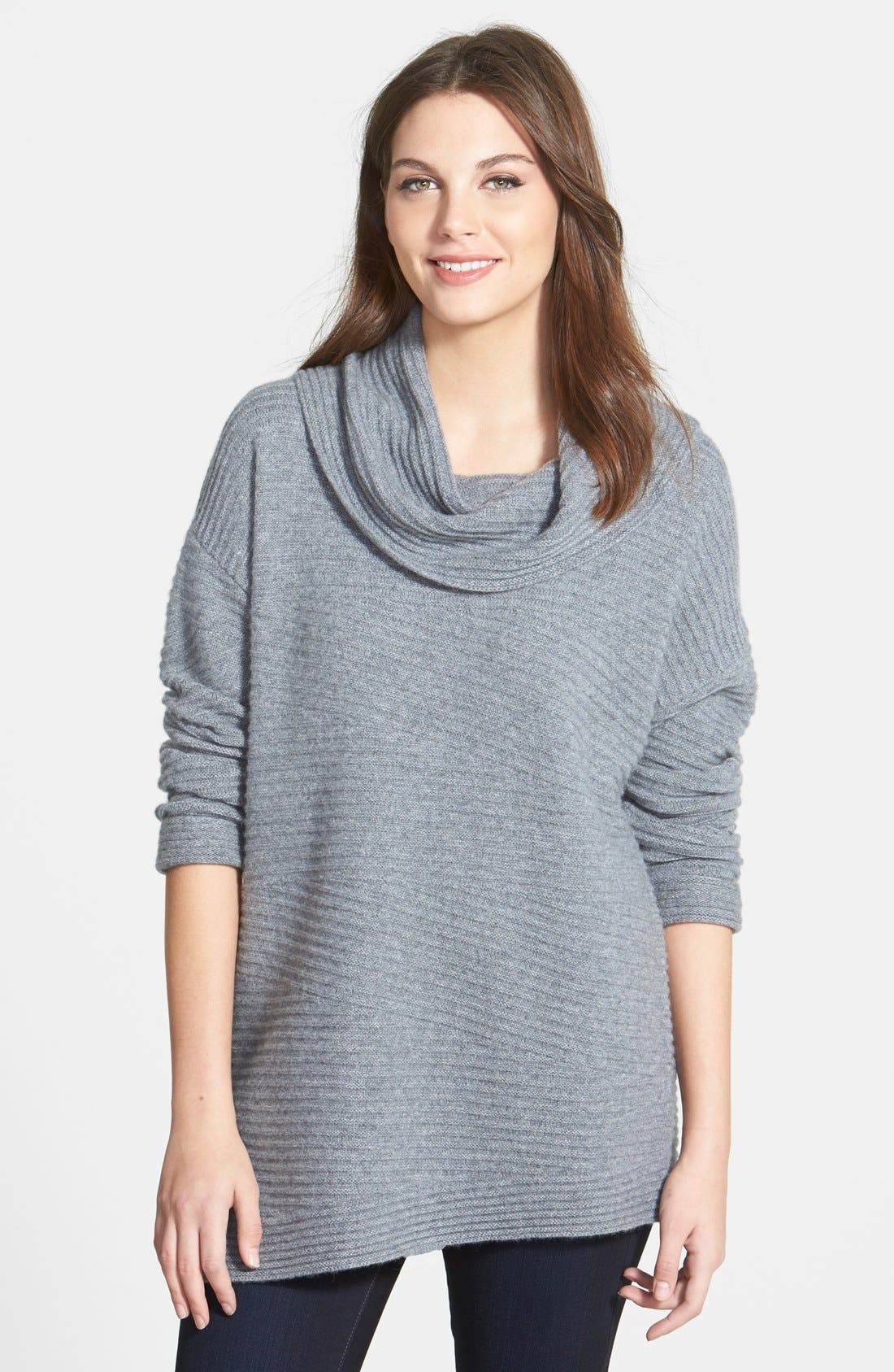 Alternate Image 1 Selected - Nordstrom Collection Zigzag Ribbed Cowl Neck Cashmere Sweater