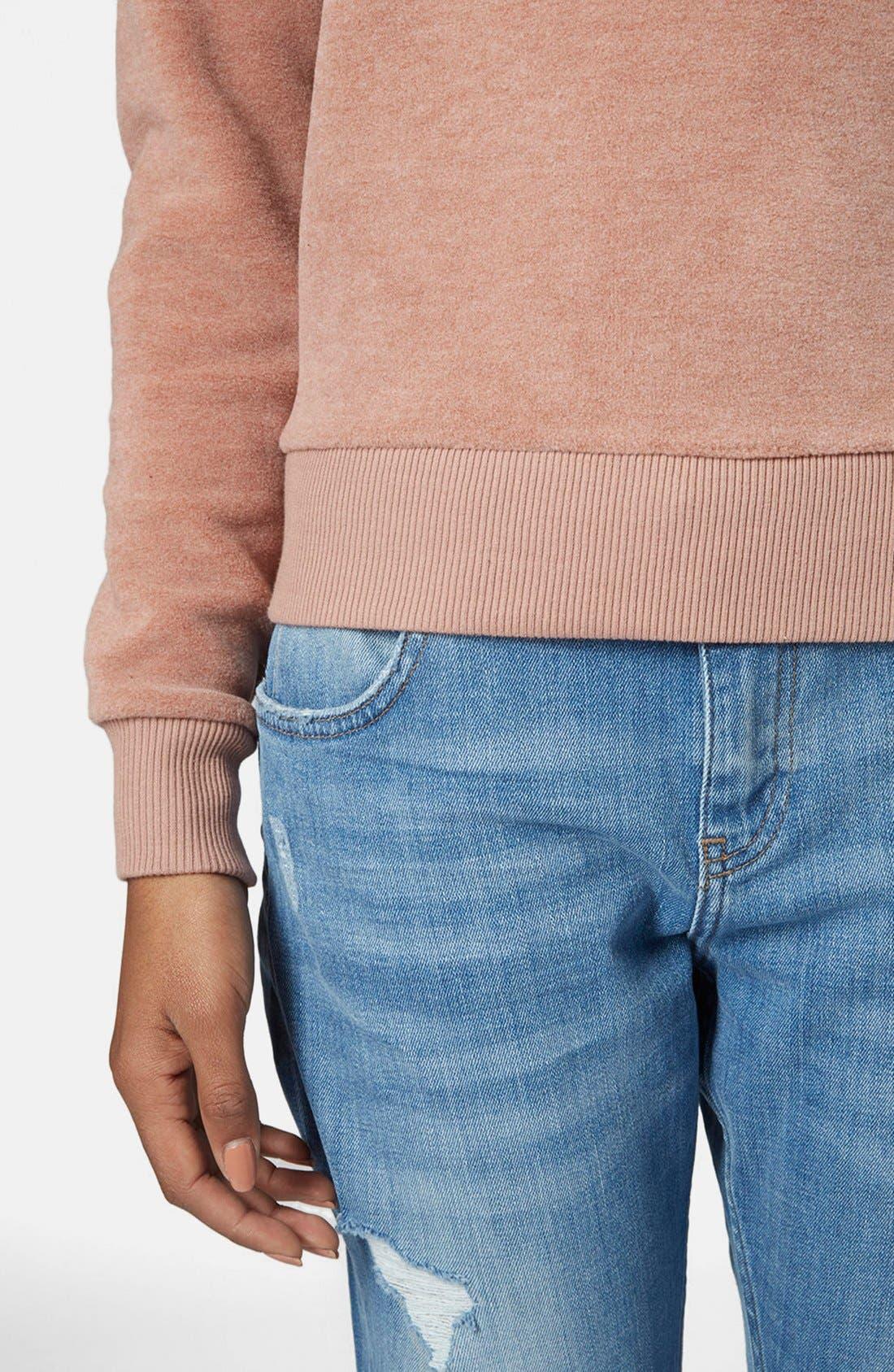 Alternate Image 4  - Topshop Fleece Crewneck Sweater