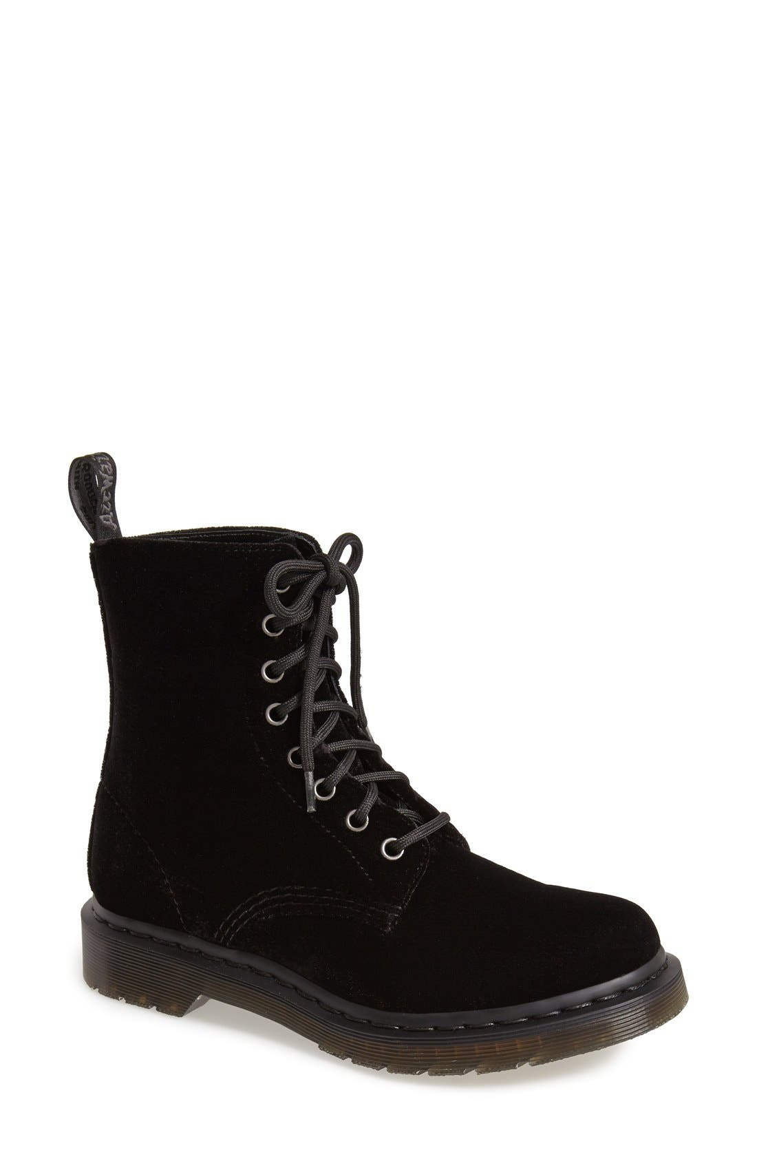 Main Image - Dr. Martens 'Page 8-Eye' Velvet Boot (Women)
