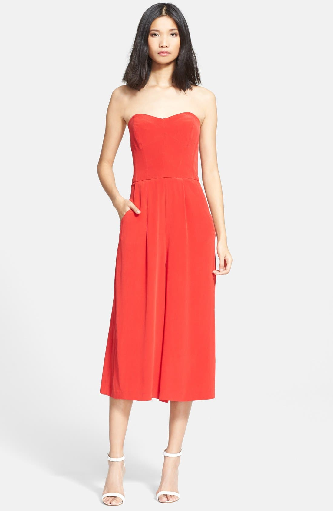 Main Image - Milly Strapless Silk Culotte Jumpsuit
