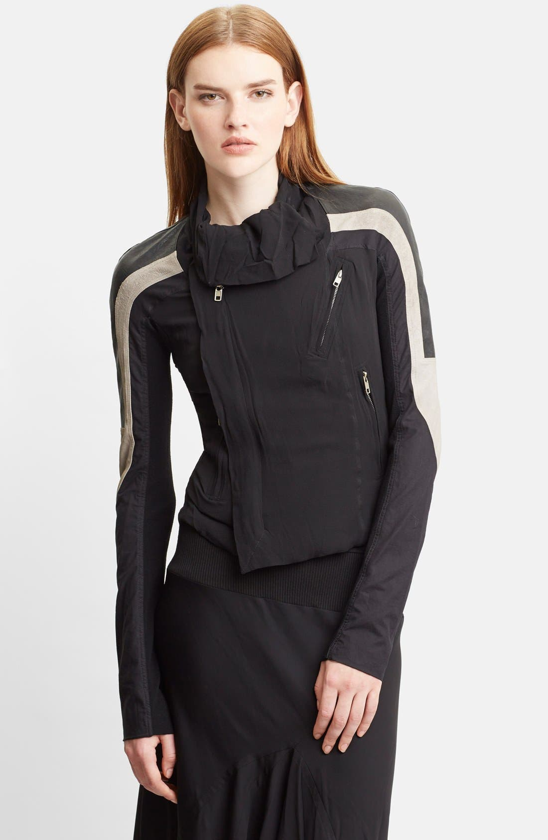 Main Image - Rick Owens Mixed Silk Georgette & Leather Moto Jacket