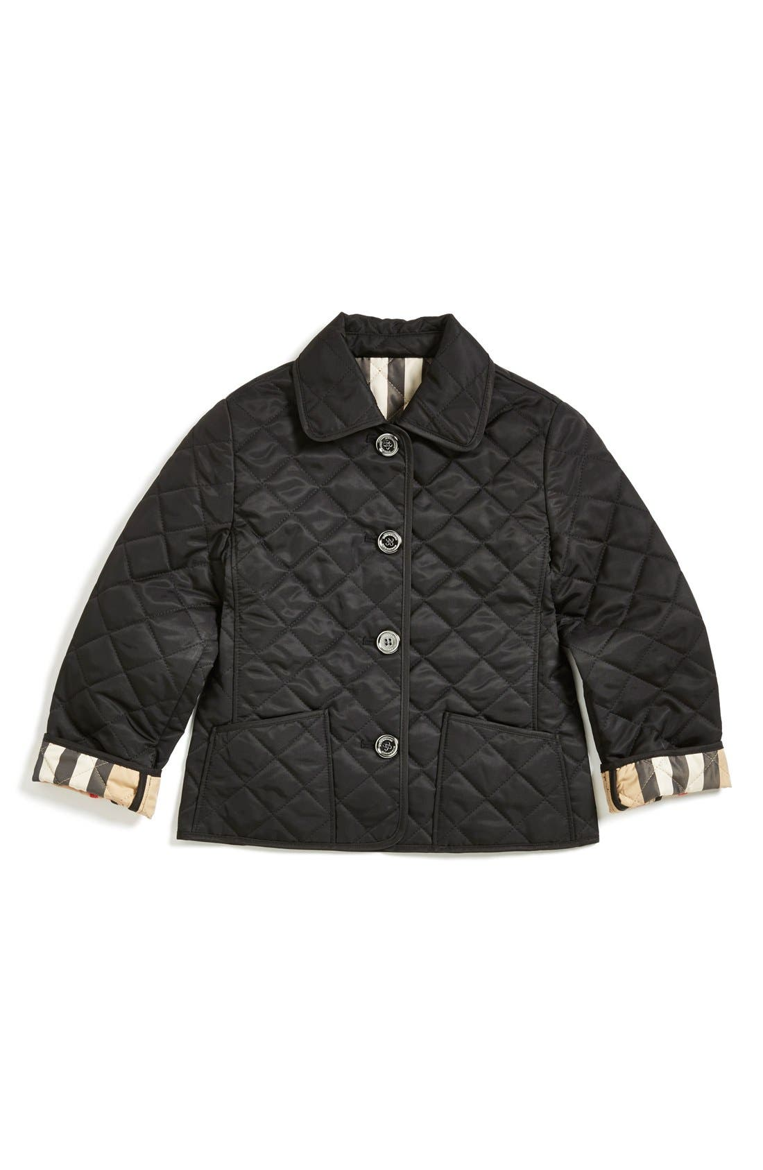 Alternate Image 1 Selected - Burberry Quilted Check Trim Coat (Little Girls & Big Girls)