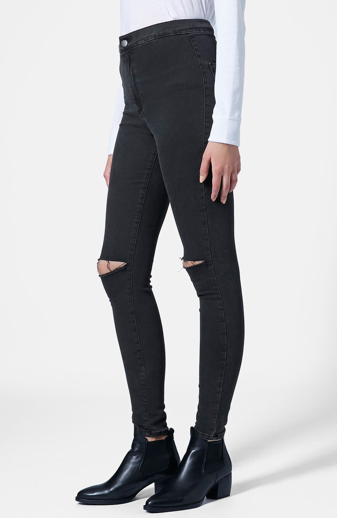 Main Image - Topshop 'Joni' Ripped Skinny Jeans (Black)
