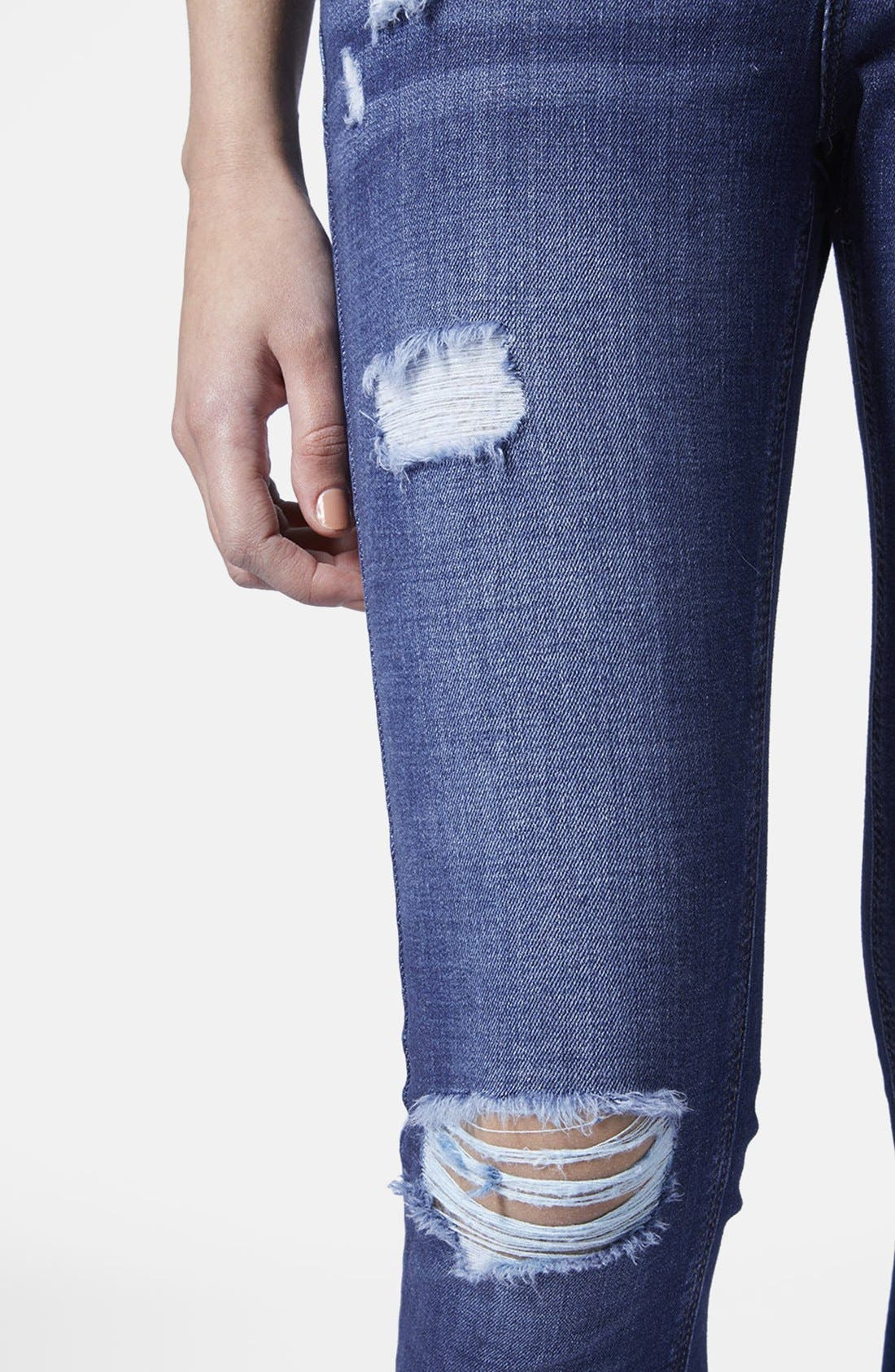 Alternate Image 3  - Topshop Moto Ripped Skinny Jeans (Dark Denim) (Petite)