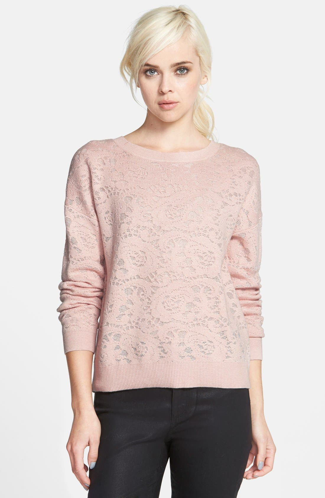 Alternate Image 1 Selected - Chelsea28 Floral Jacquard Sweater