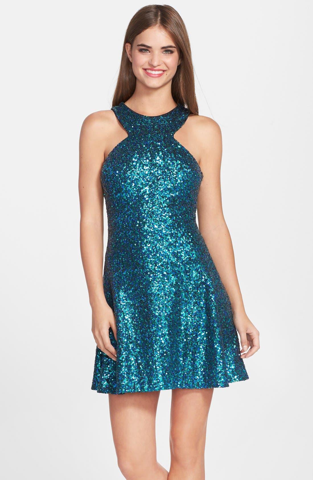 Alternate Image 1 Selected - Dress the Population 'Helene' Sequin Fit & Flare Dress