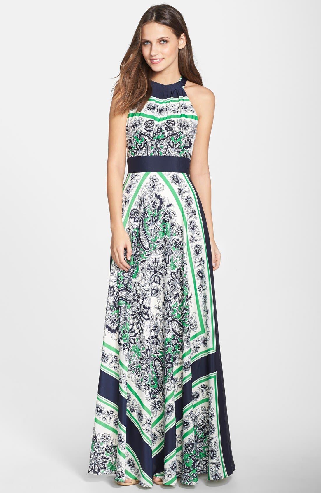 Alternate Image 1 Selected - Eliza J Scarf Print Halter Maxi Dress (Regular & Petite)