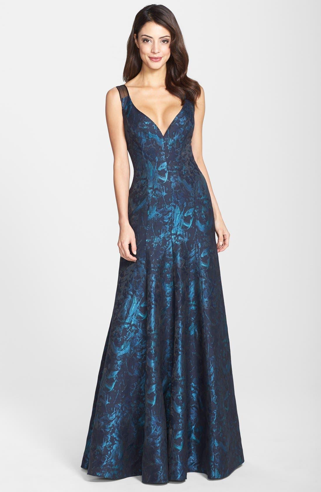 Alternate Image 1 Selected - Vera Wang Sleeveless Plunge Cut V-Neck Silk Jacquard Gown (Women)
