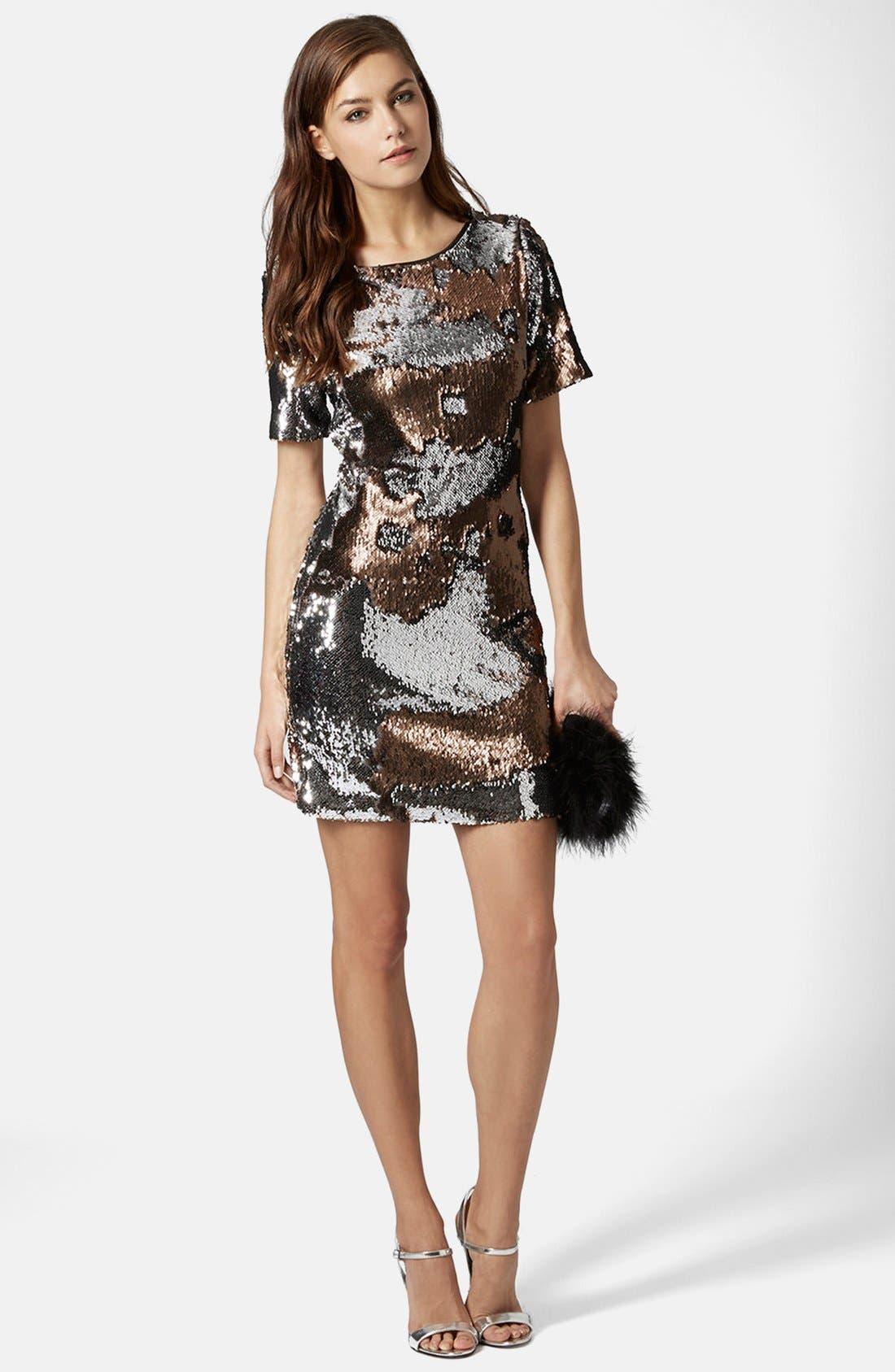 Alternate Image 5  - Topshop Metallic Sequin Body-Con Dress (Regular & Petite)