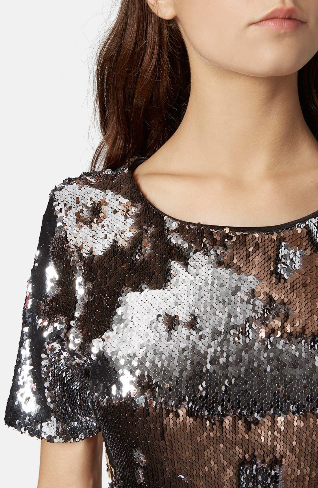 Alternate Image 4  - Topshop Metallic Sequin Body-Con Dress (Regular & Petite)