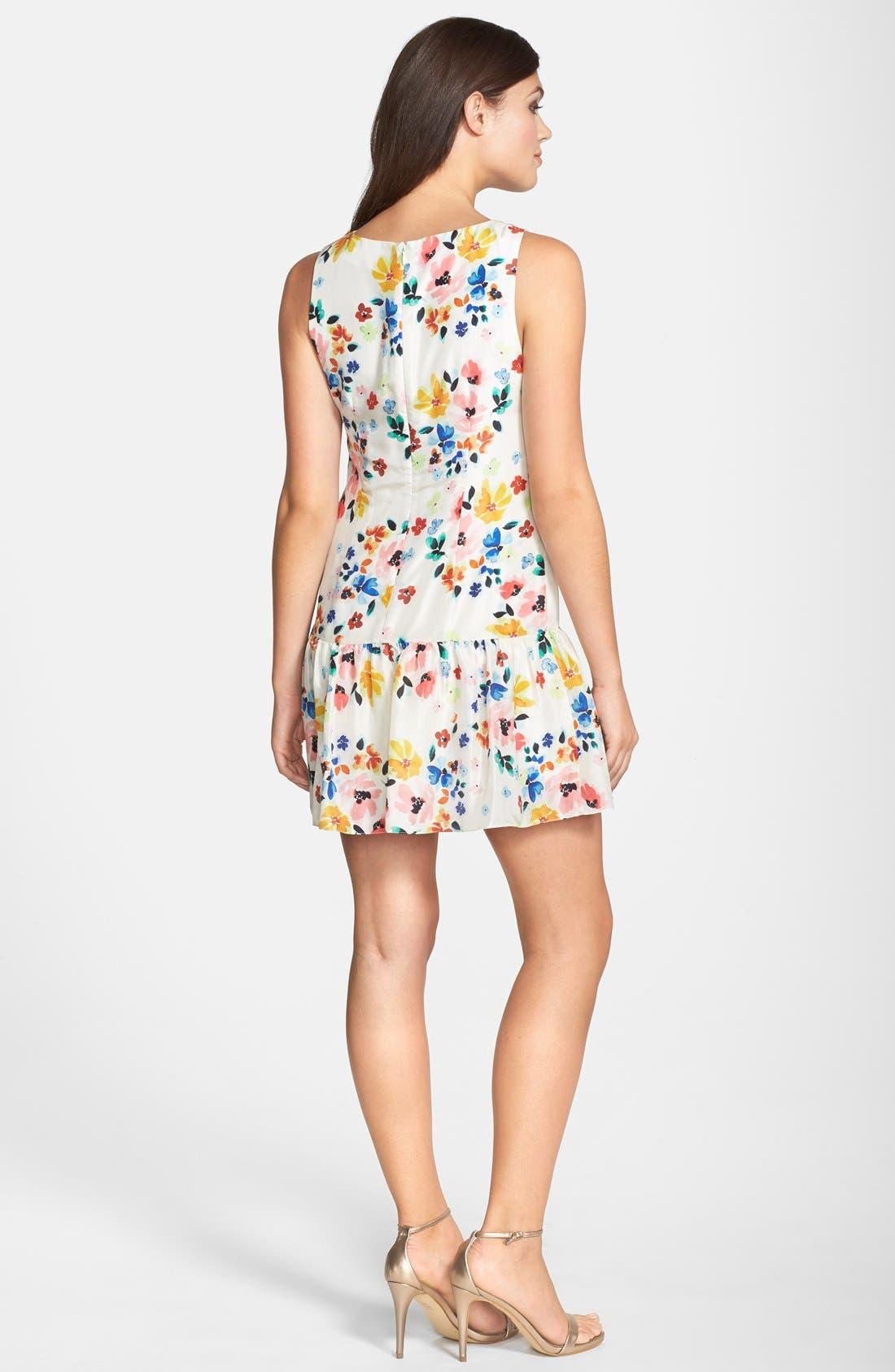 Alternate Image 2  - CeCe by Cynthia Steffe Floral Print Drop Waist Dress (Regular & Petite)