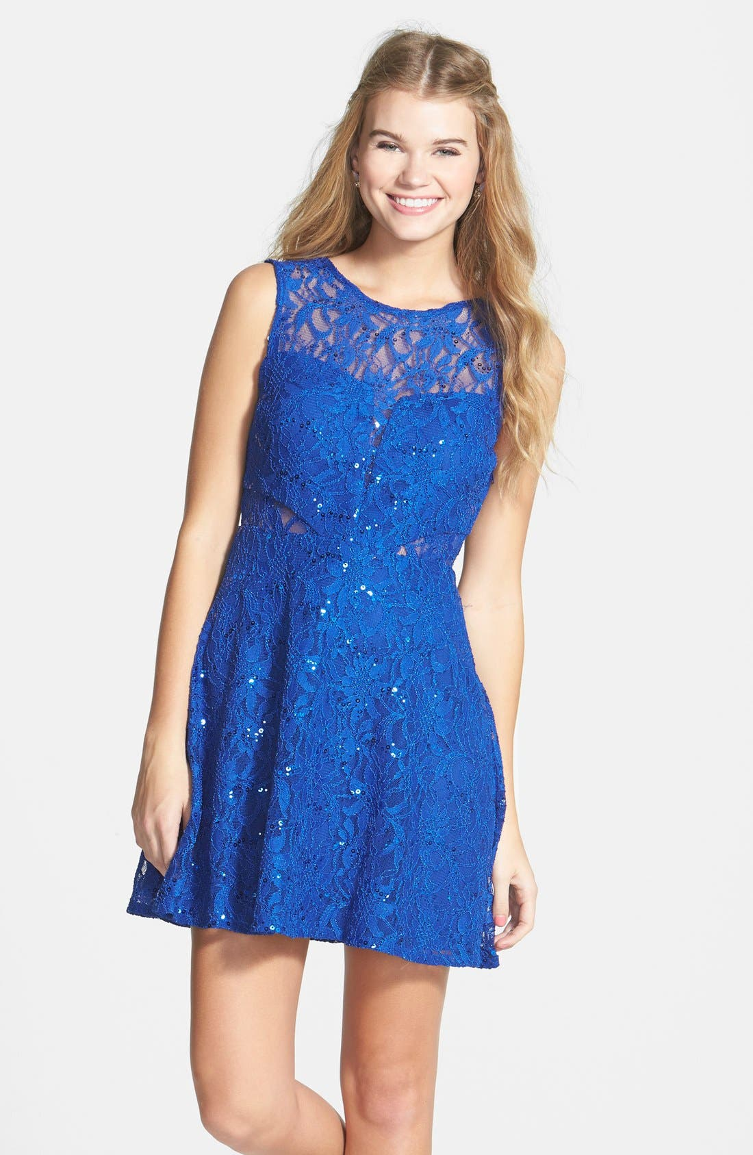 Main Image - Hailey Logan Sequin Lace Illusion Skater Dress (Juniors)