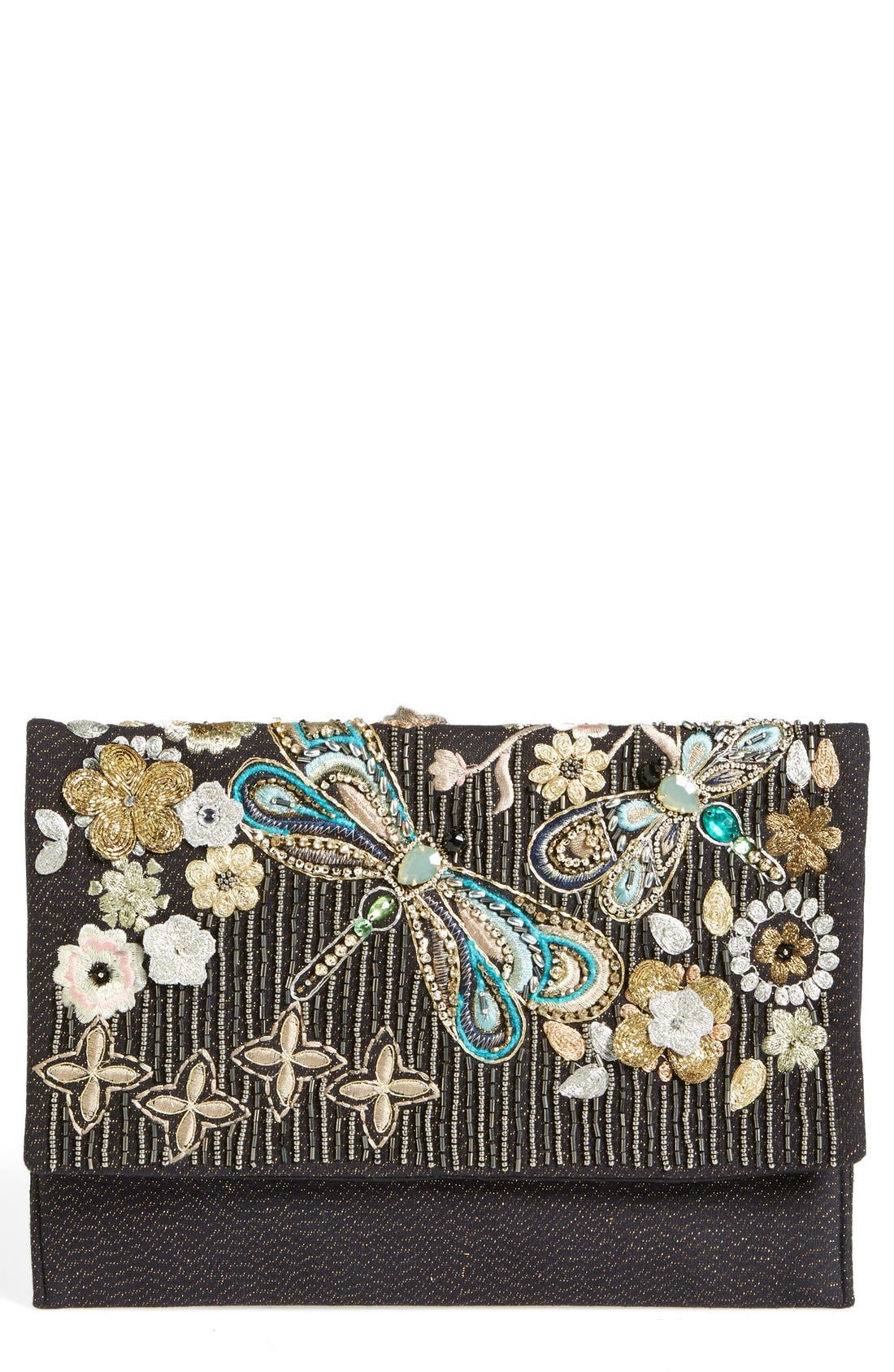 Main Image - Berry Beaded Dragonfly Oversize Clutch