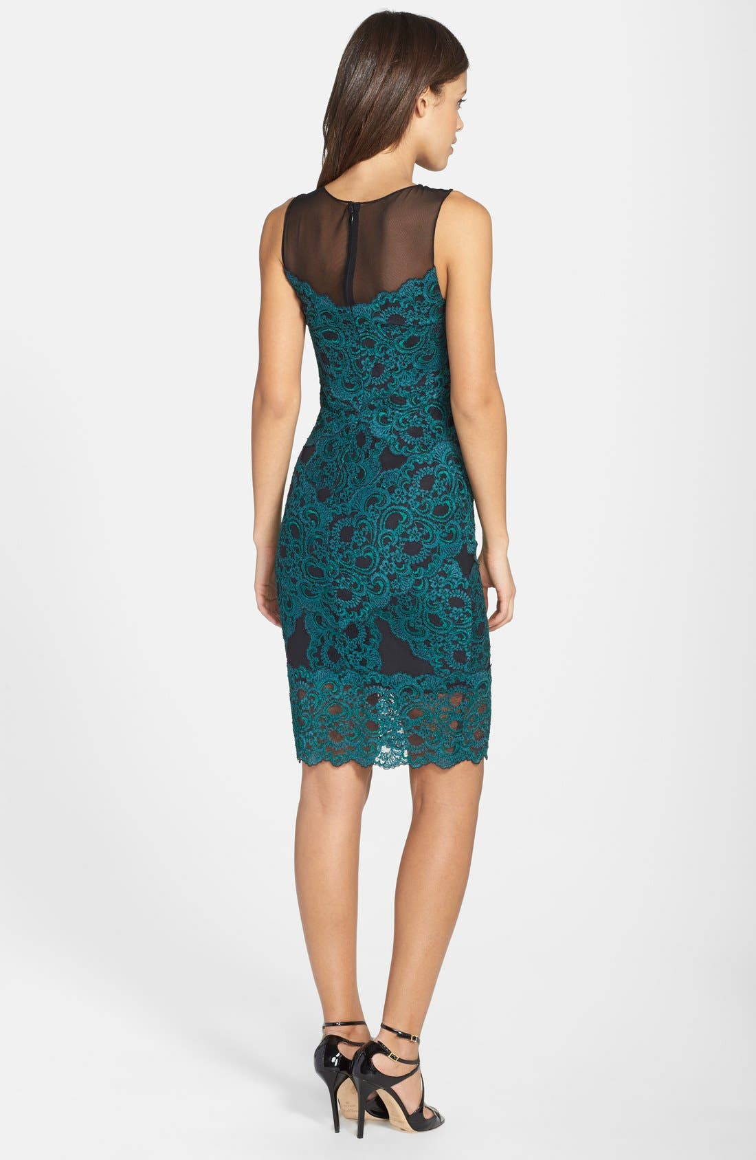 Alternate Image 2  - Nicole Miller Illusion Yoke Stretch Lace Cocktail Dress