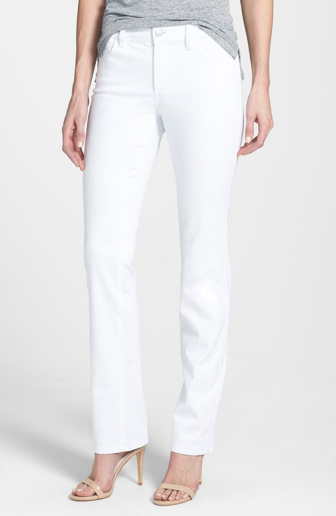 Alternate Image 1 Selected - NYDJ 'Marilyn' Stretch Straight Leg Jeans (Optic White) (Regular & Petite)