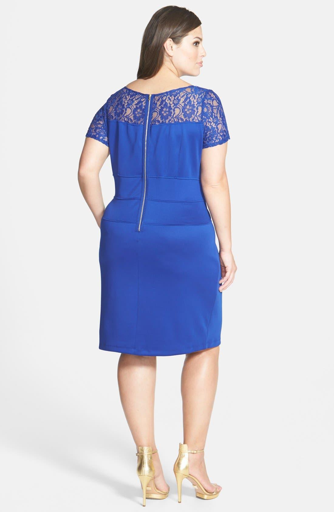 Alternate Image 2  - Gabby Skye Lace Yoke Sheath Dress (Plus Size)