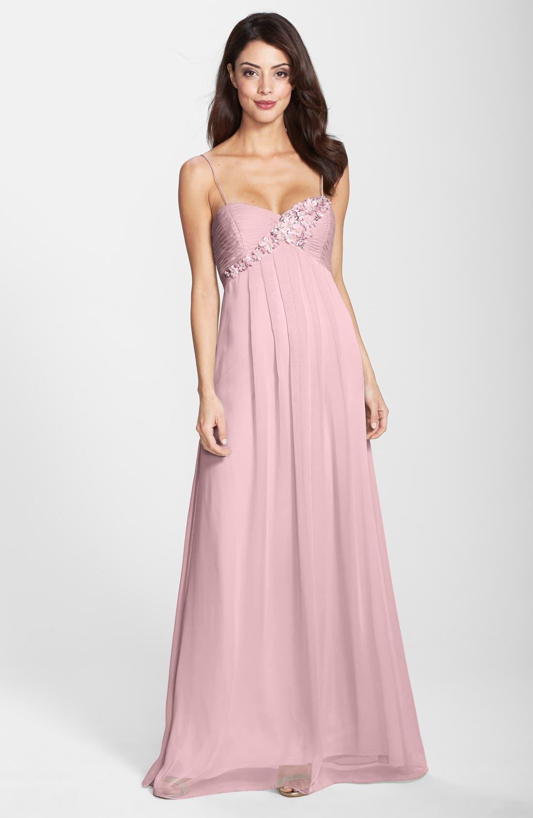 Main Image - Adrianna Papell Floral Appliqué Chiffon Dress