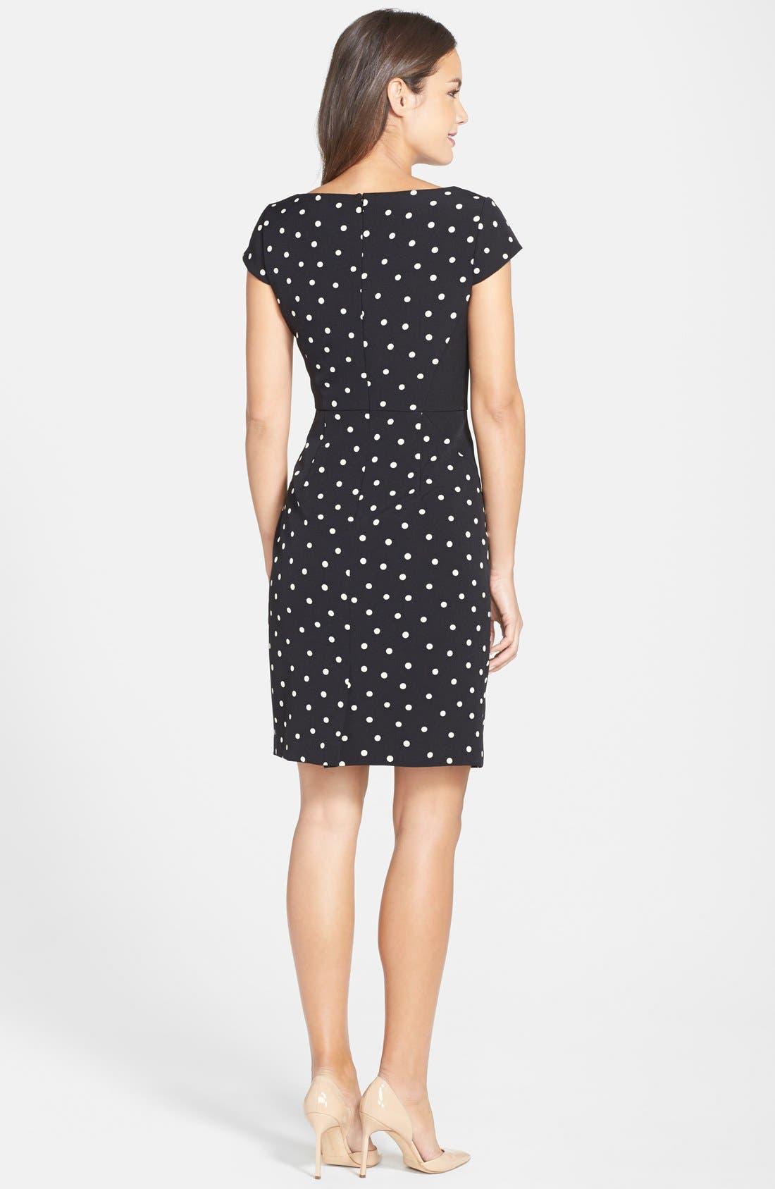 Alternate Image 2  - Adrianna Papell Polka Dot Pleat Detail Sheath Dress