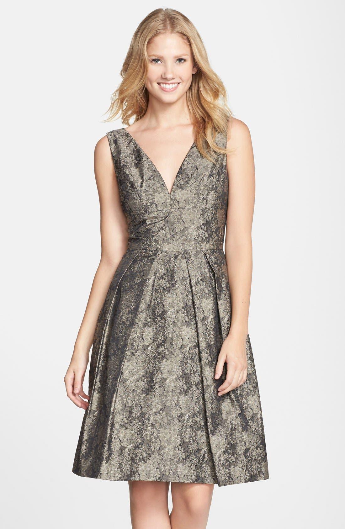 Alternate Image 1 Selected - Vera Wang Jacquard Fit & Flare Dress
