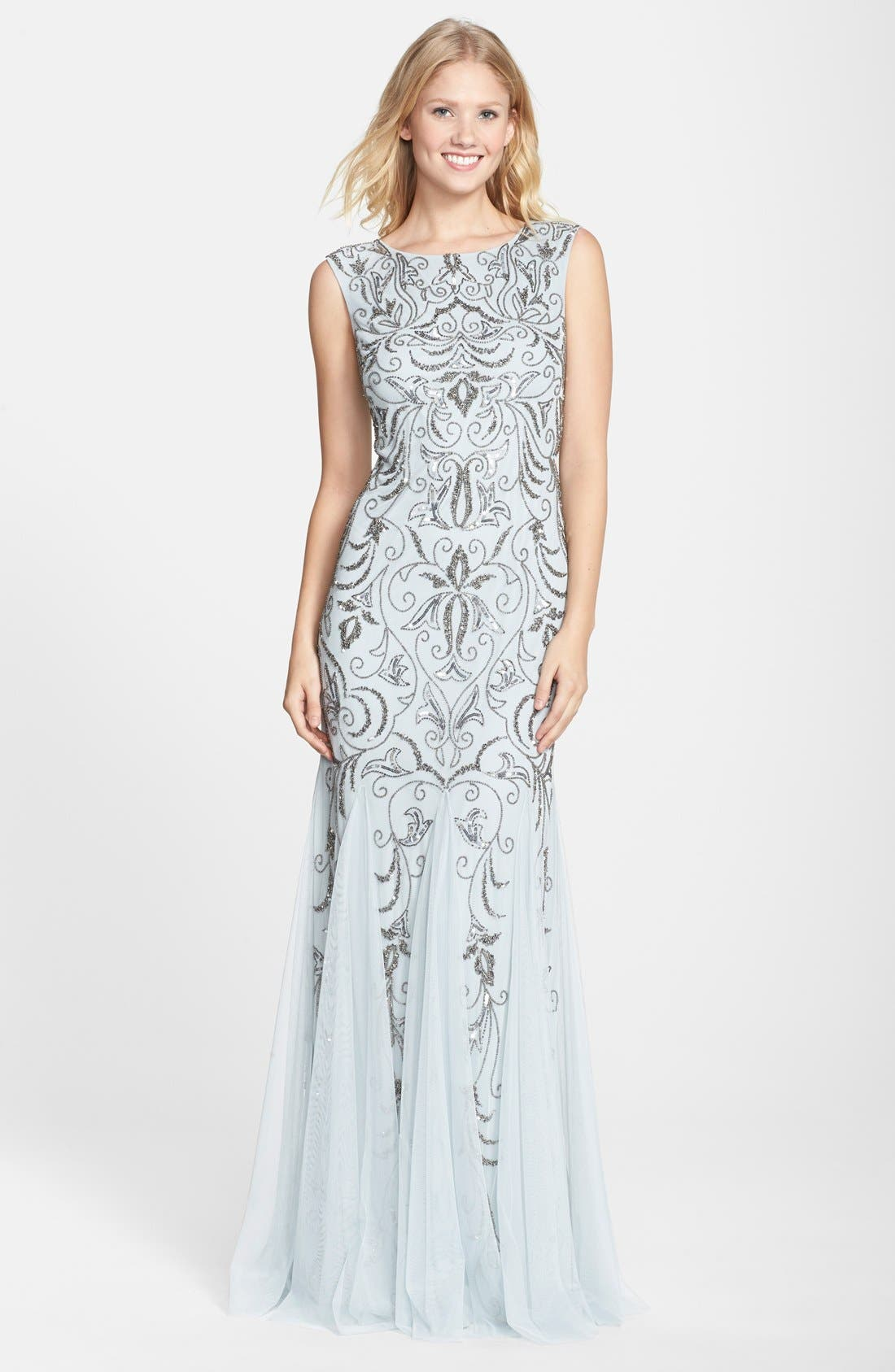 Alternate Image 1 Selected - Adrianna Papell Beaded Mermaid Gown (Regular & Petite)