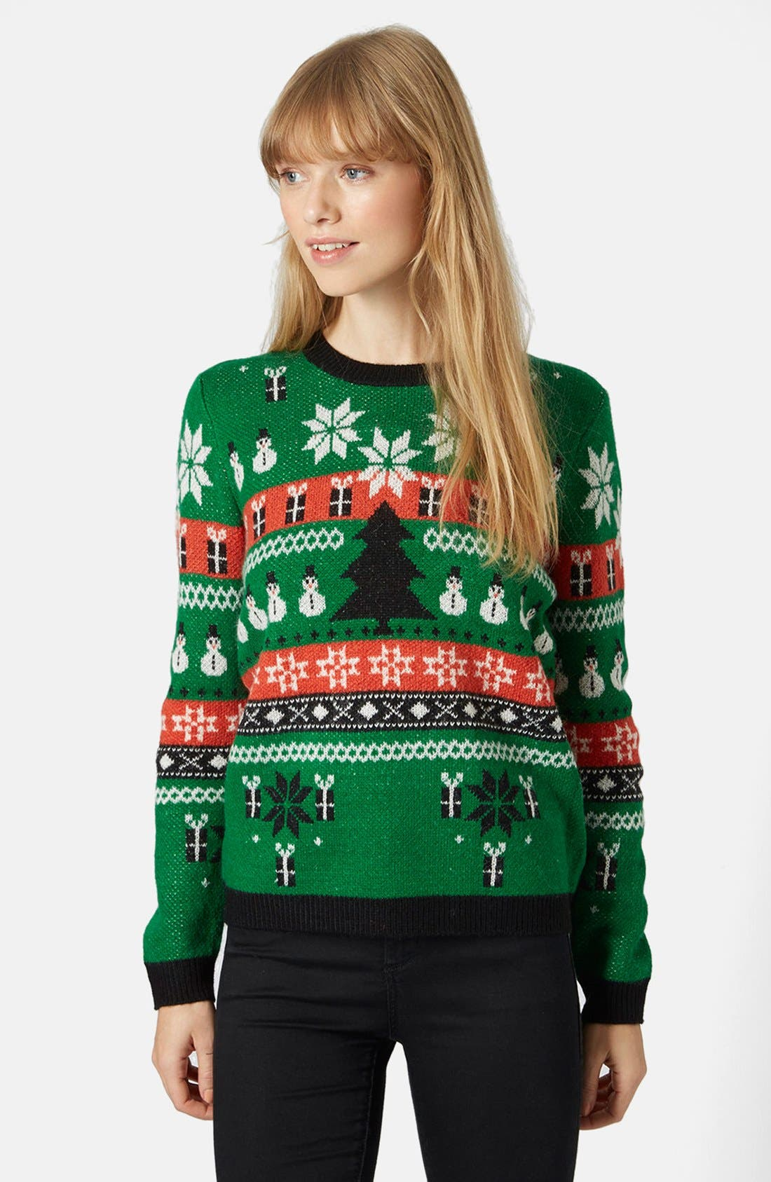 Alternate Image 1 Selected - Topshop Holiday Fair Isle Sweater