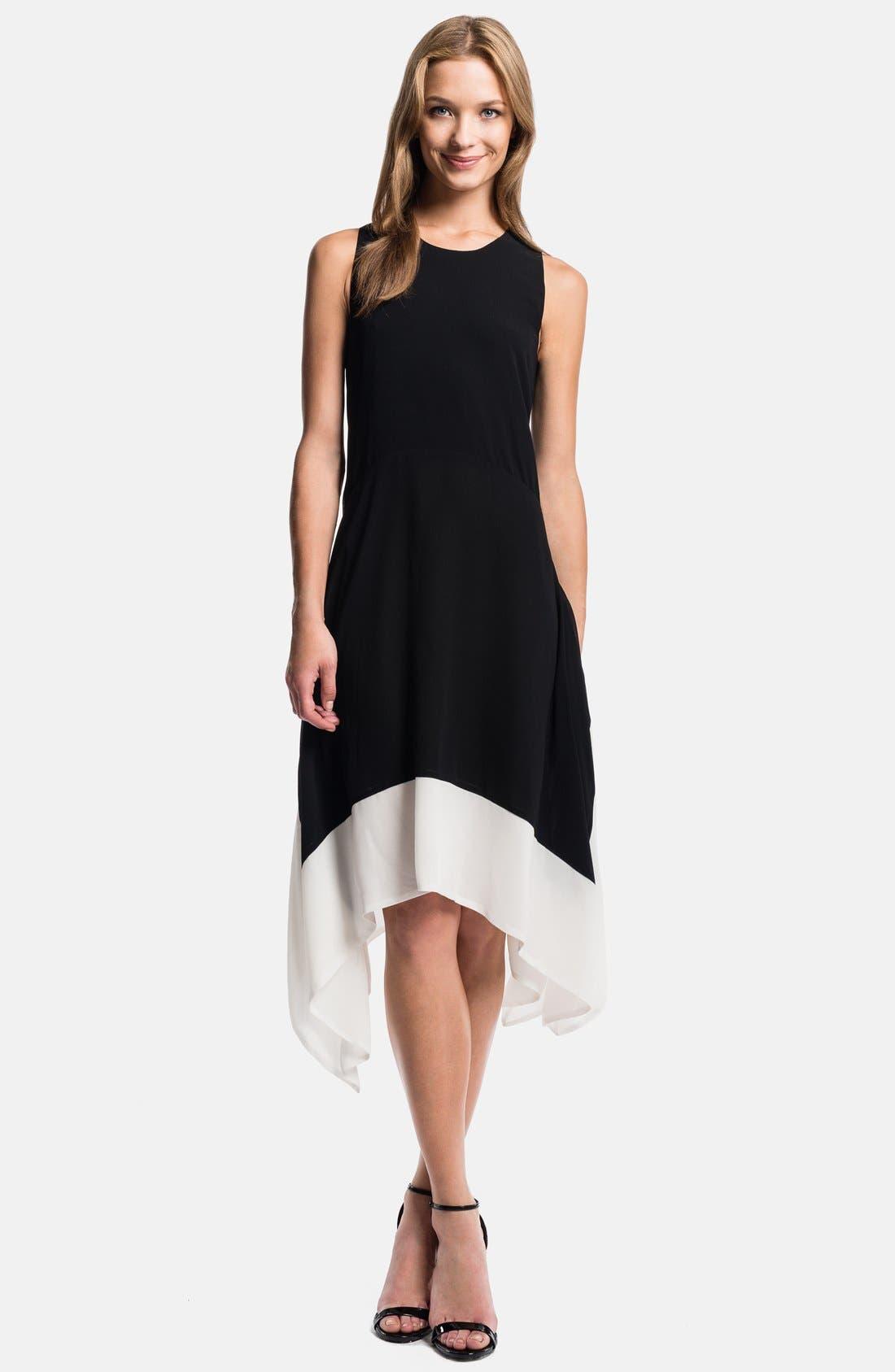Alternate Image 1 Selected - 1.STATE Handkerchief Hem Color Block Dress