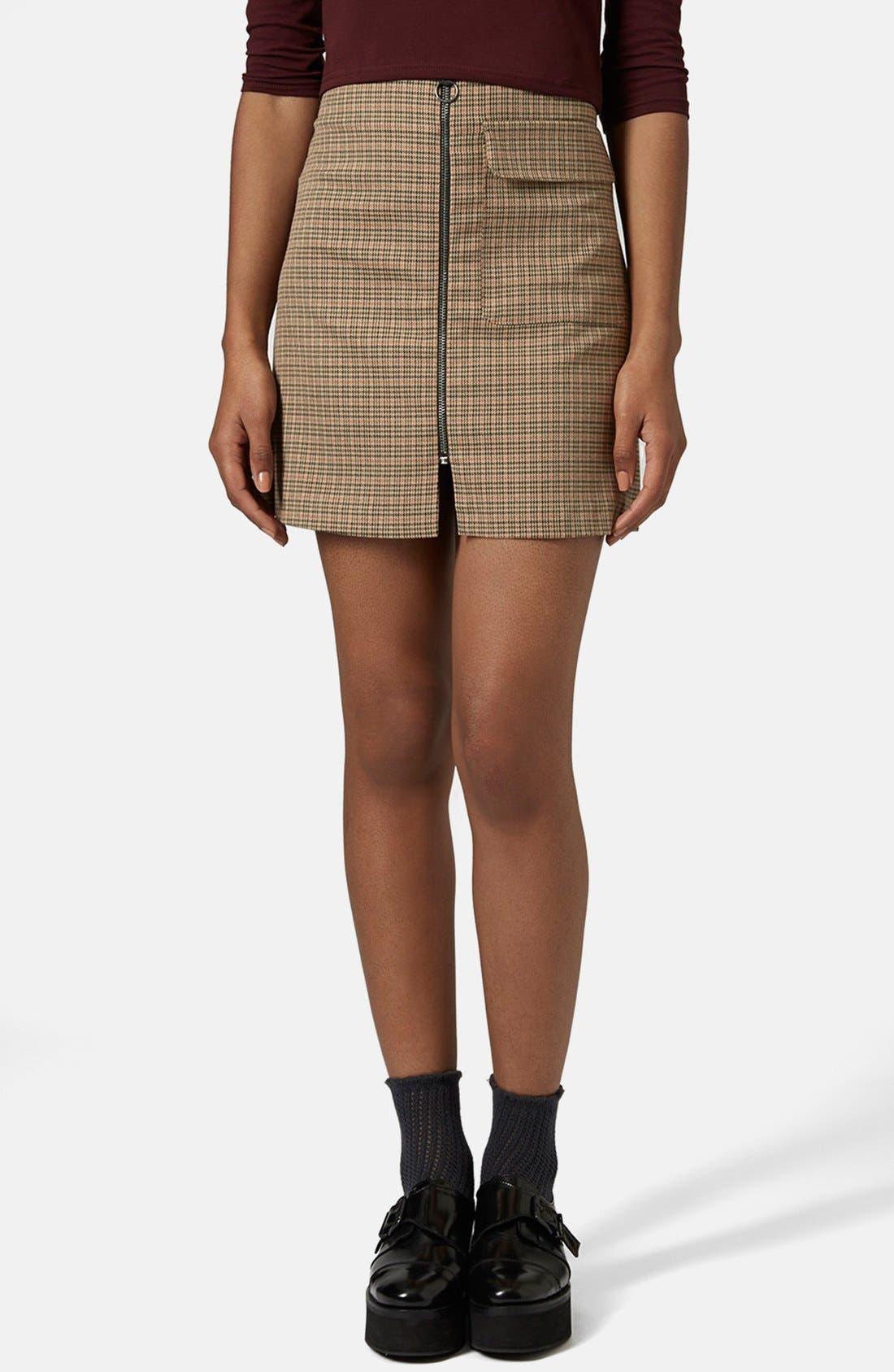 Main Image - Topshop 'Tessa' Houndstooth A-Line Miniskirt